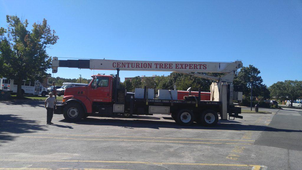 Hurricane tree service emergency work - equipment parked